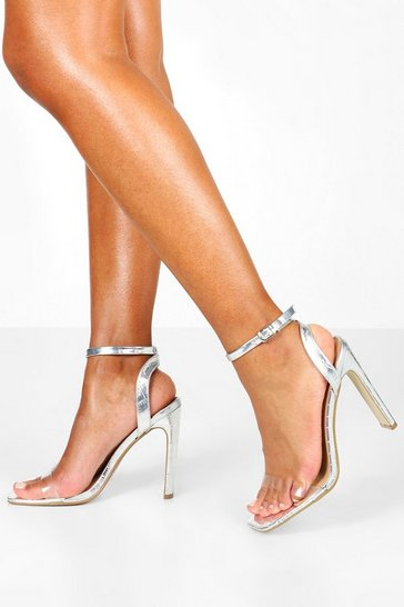 Silver Wide Fit Clear Strap Square Toe Flat Heel 2 Parts