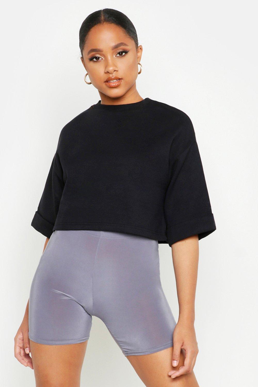 Womens Kurzes Utility-Sweatshirt mit Tasche - schwarz - S, Schwarz - Boohoo.com