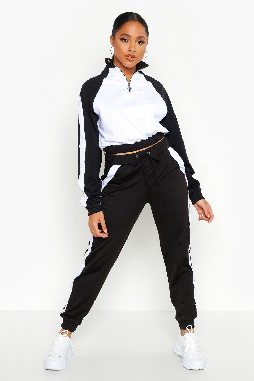 Womens Athleisure-Set mit halbem Reißverschluss im Colorblock-Design - schwarz - S, Schwarz - Boohoo.com