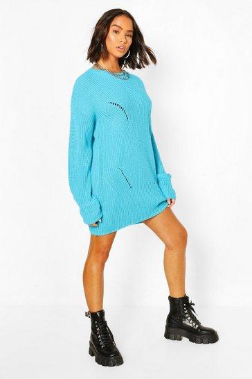 Turquoise Cuff Detail Fisherman Jumper Dress