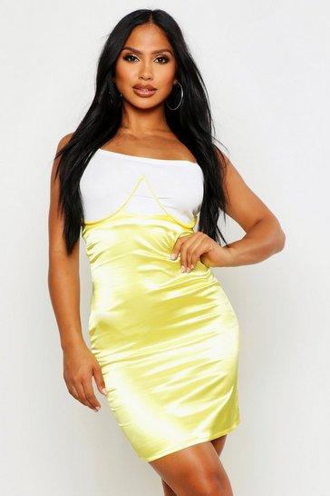 Yellow Satin Bustier Underwire Midi Skirt