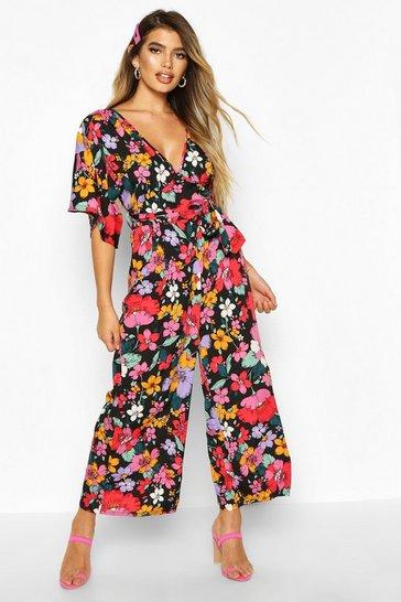 Black Bright Floral Culotte Jumpsuit