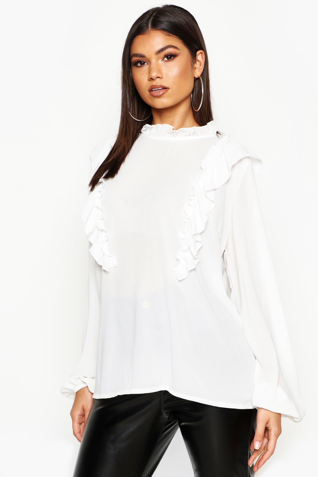 Womens Bluse mit Rüschendetail - Weiß - M, Weiß - Boohoo.com