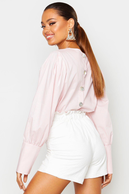 Womens Bluse mit Ballonärmeln und Knopfleiste am Rücken - Blassrosa - S, Blassrosa - Boohoo.com