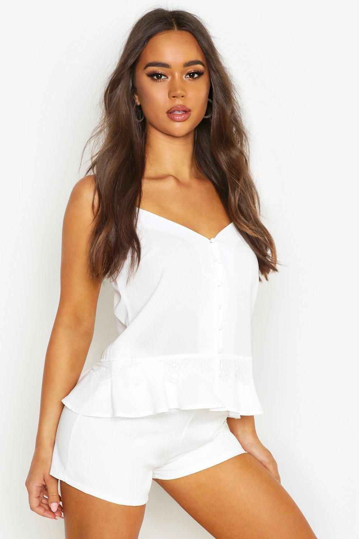 Womens Gewebtes Trägedressing gownrteil mit durchgehender Knopfleiste und Rüschen - Weiß - 34, Weiß - Boohoo.com
