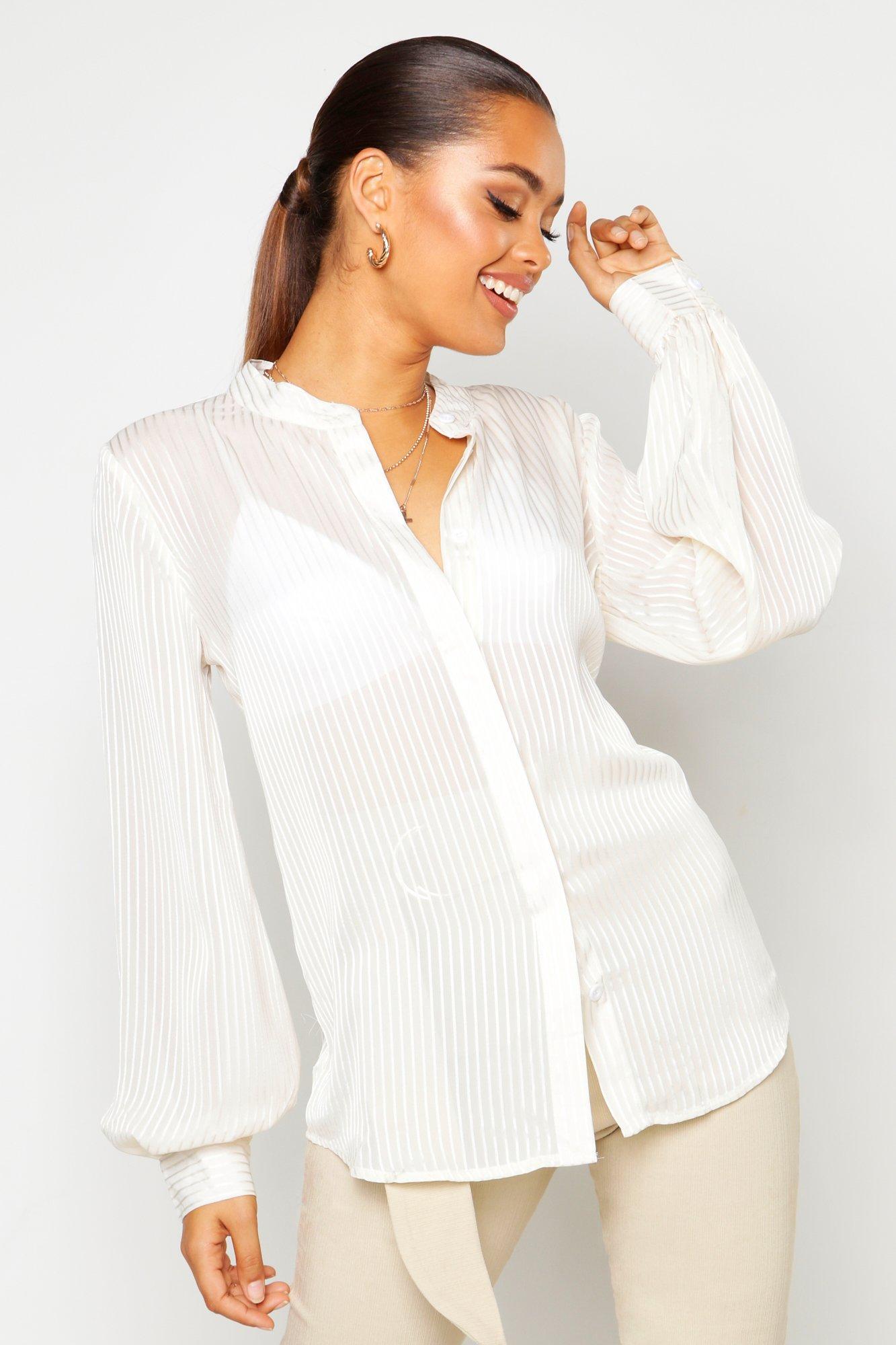 Womens Gestreiftes Hemd aus Satin - Weiß - 38, Weiß - Boohoo.com