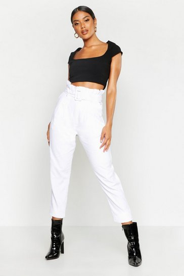 Ivory Baby Cord Belted Paperbag Waist Trousers