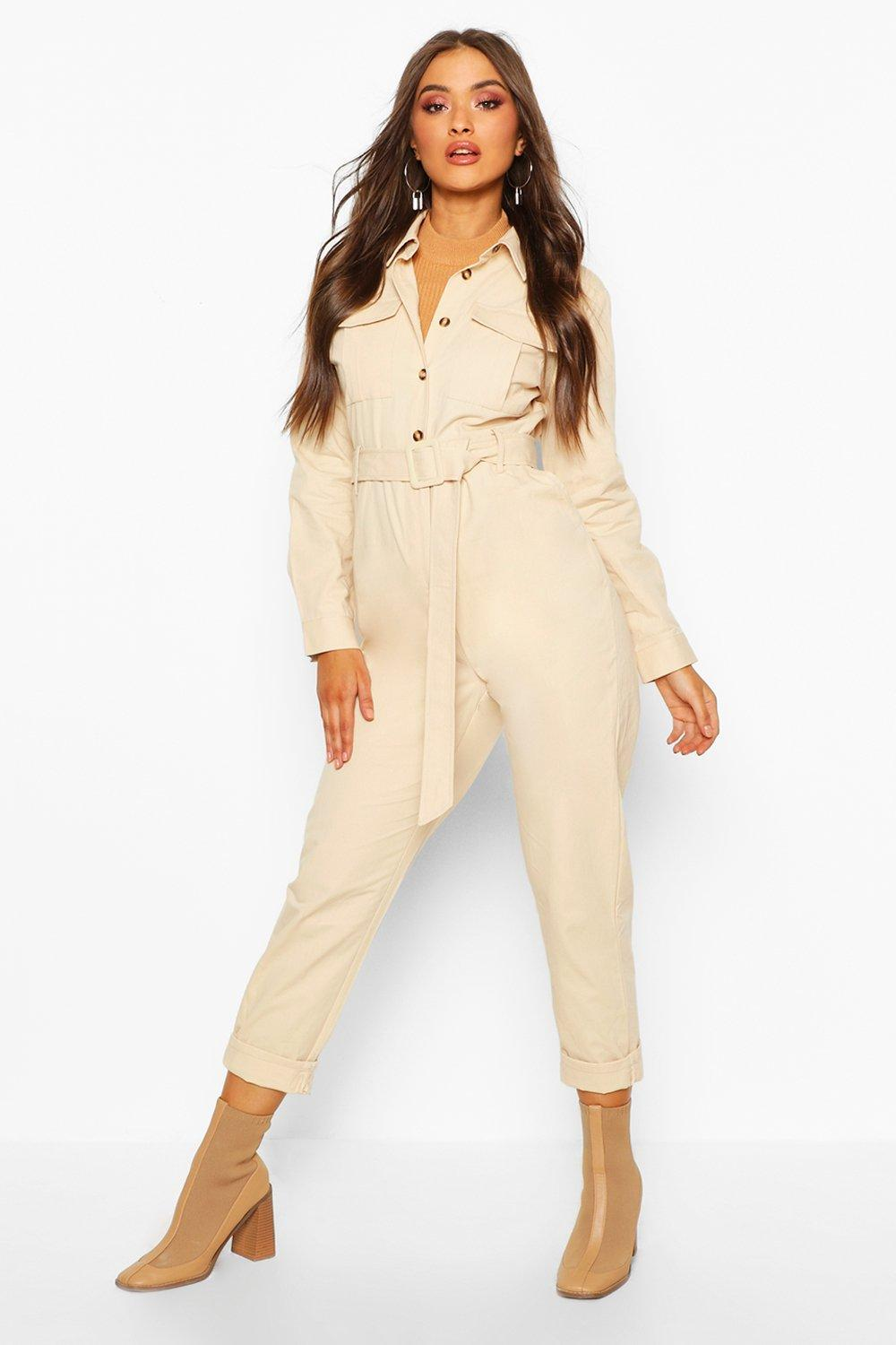 Casual Jumpsuits Button Front Belted Boiler Suit