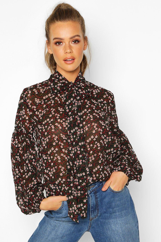 Womens Bluse aus Webstoff mit Blumenmuster und Schleife - schwarz - 32, Schwarz - Boohoo.com