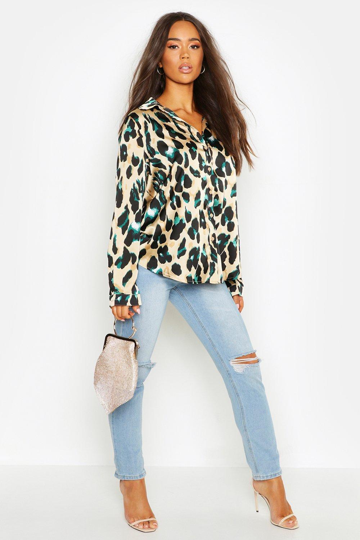 Womens Hemd aus Satin mit Leopardenmuster - schwarz - 34, Schwarz - Boohoo.com