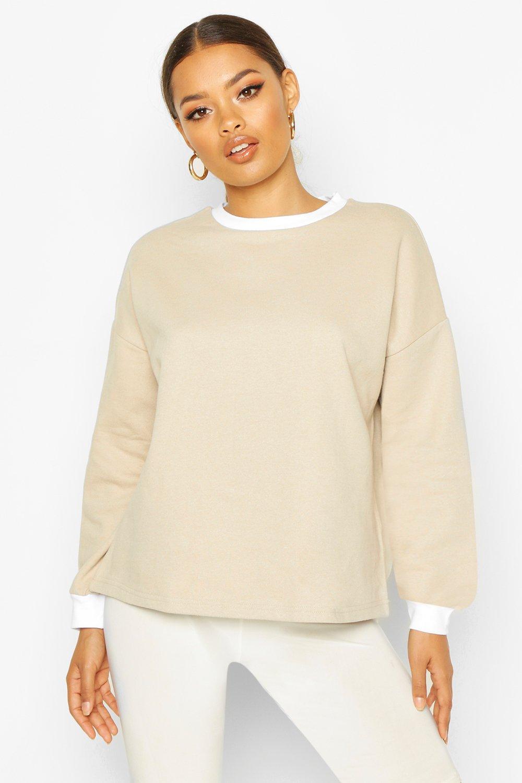 Womens Sweatshirt mit Ringerrücken - kamelhaarfarben - M, Kamelhaarfarben - Boohoo.com