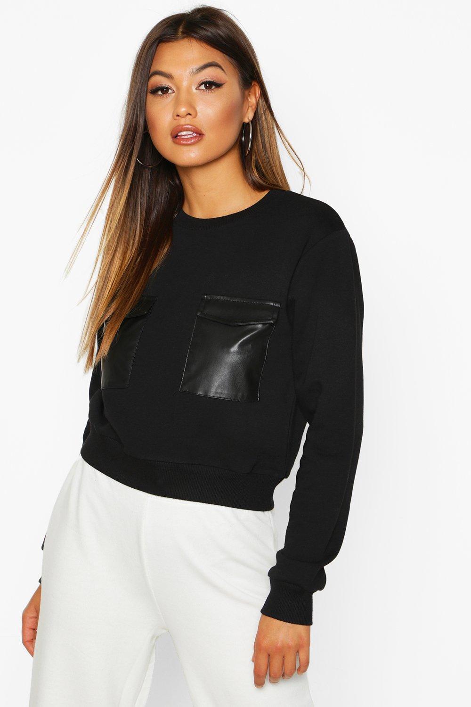 Womens Sweatshirt mit PU-Tasche - schwarz - S, Schwarz - Boohoo.com