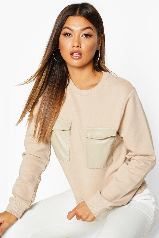 Womens Sweatshirt mit PU-Tasche - creme - L, Creme - Boohoo.com