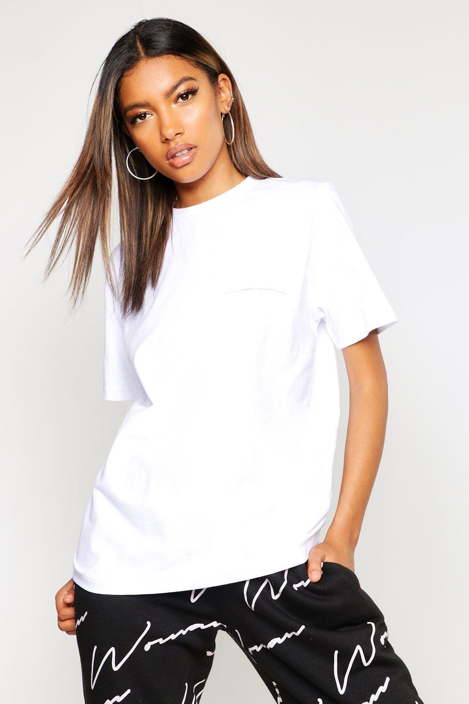 Womens T-Shirt mit Rundhalsausschnitt und Tasche - Weiß - 36, Weiß - Boohoo.com