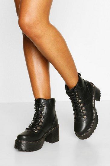 Black Chunky Platform Block Heel Hiker Boots