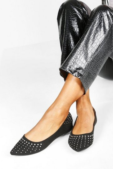 Black Wide Fit Studded Pointed Ballets