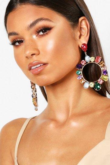 Multi Gem Statement Earrings