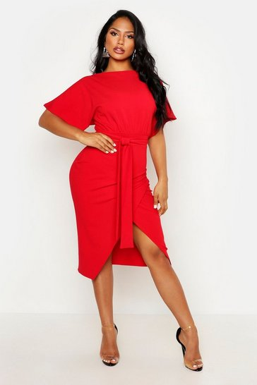 Red Angel Sleeve Belted Wrap Midi Dress