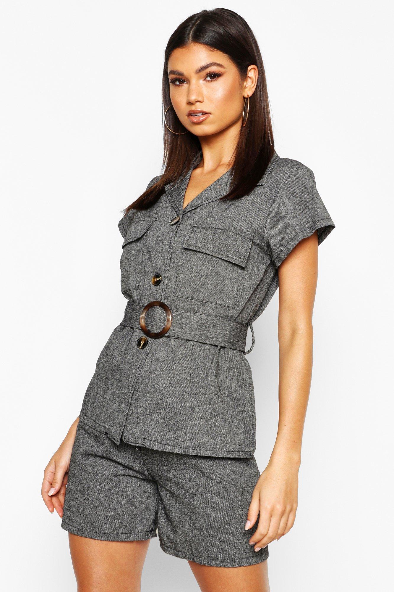 Womens Utility-Hemd aus Leinen mit Tasche und Gürtel - schwarz - 34, Schwarz - Boohoo.com