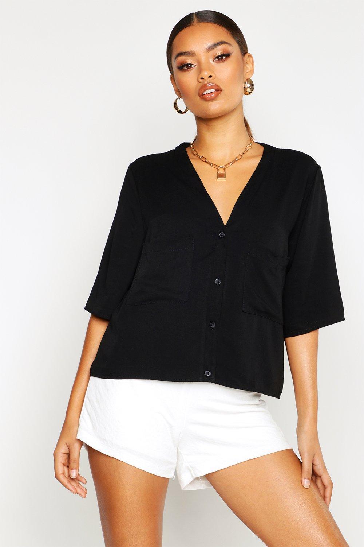 Womens Kragenloses Hemd aus Tencel mit Tasche - schwarz - 34, Schwarz - Boohoo.com