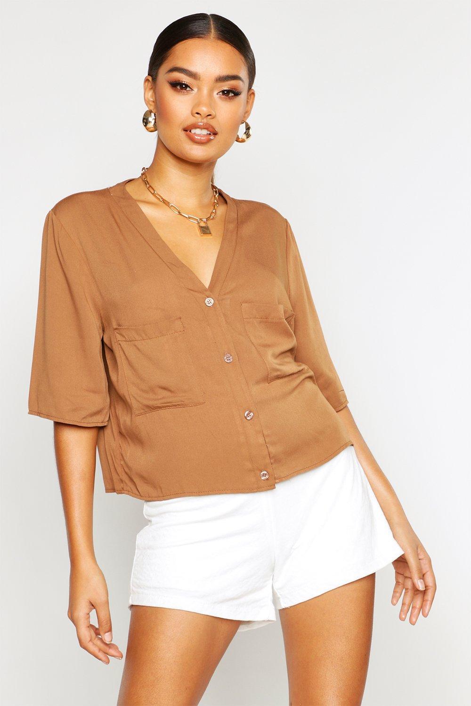 Womens Lockere Hemdbluse mit Brusttaschen und Knopfleiste - Rostbraun - 38, Rostbraun - Boohoo.com