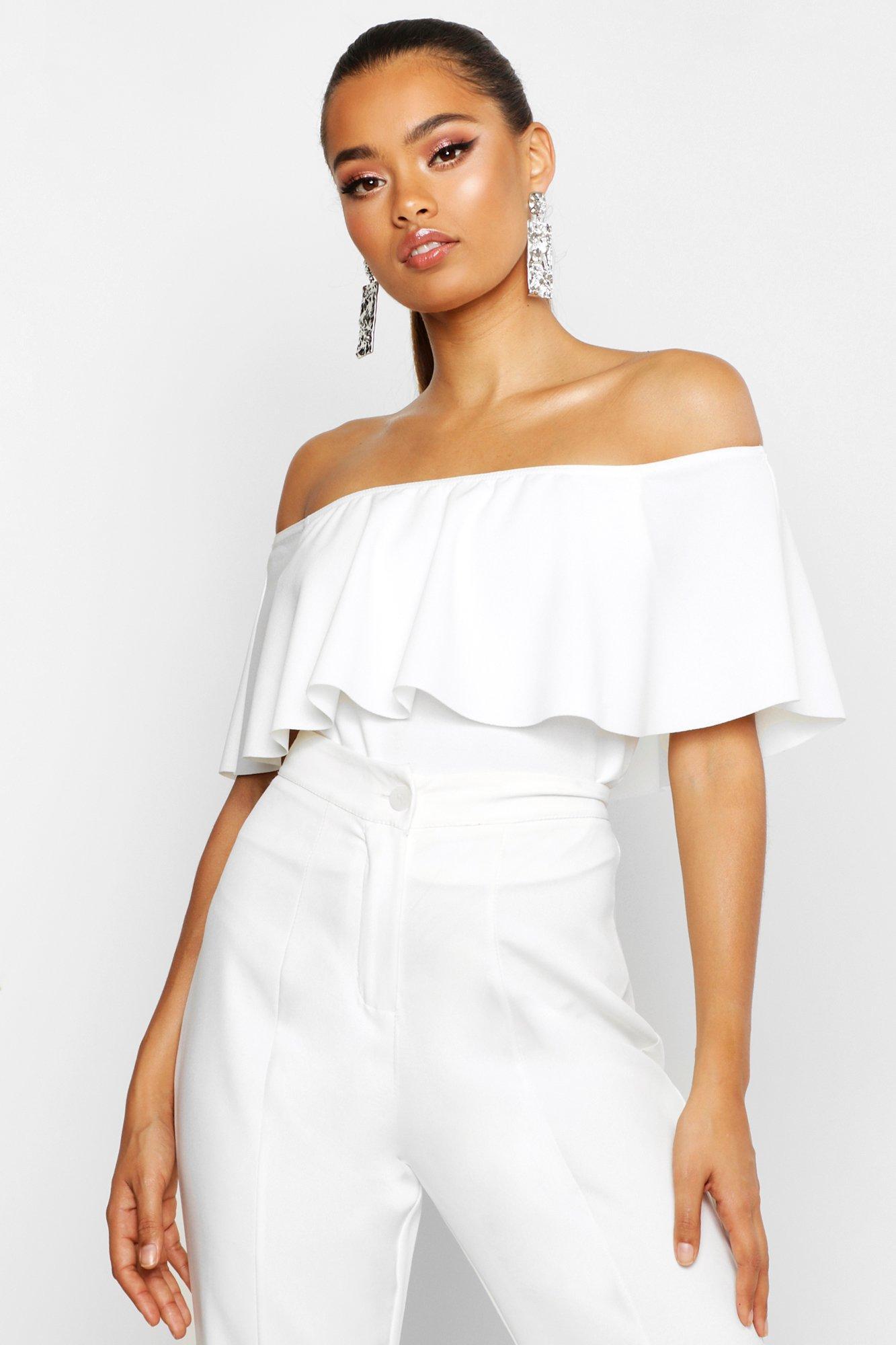 Womens Schulterfreies Crop Top aus Kreppstoff - Weiß - 40, Weiß - Boohoo.com