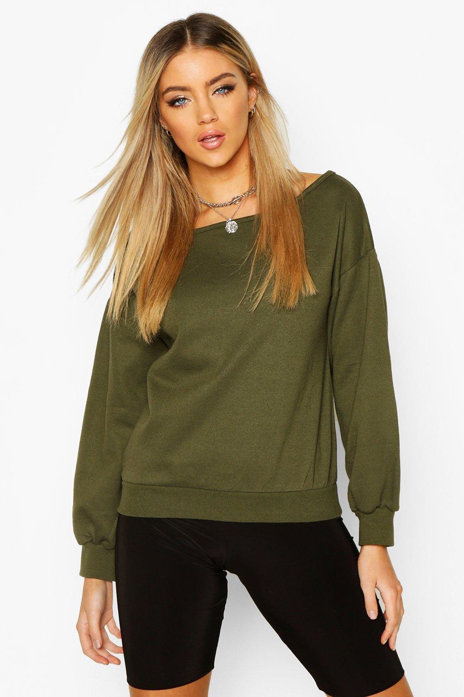 Womens Cold-Shoulder-Sweatshirt - khaki - M, Khaki - Boohoo.com
