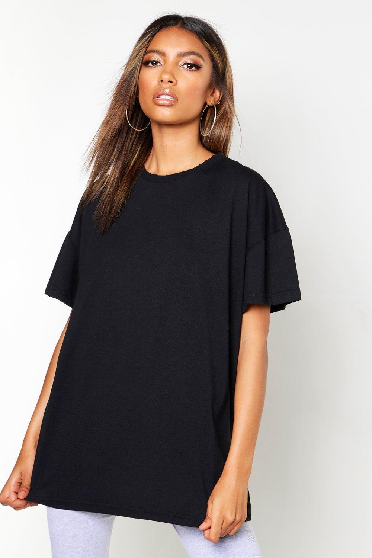 Womens Oversized-T-Shirt mit Waschung und Rändern im Destroyed-Look - schwarz - S, Schwarz - Boohoo.com