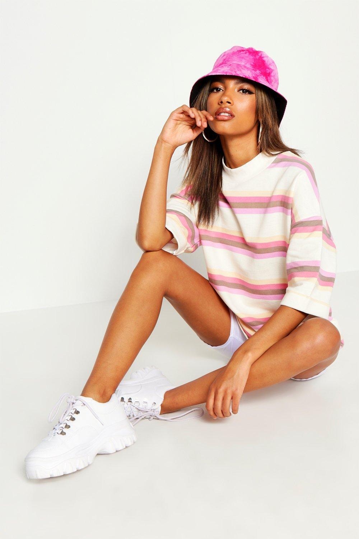 Womens Gestreiftes Oversized Sweatshirt mit herabhängender Schulter - creme - 32, Creme - Boohoo.com