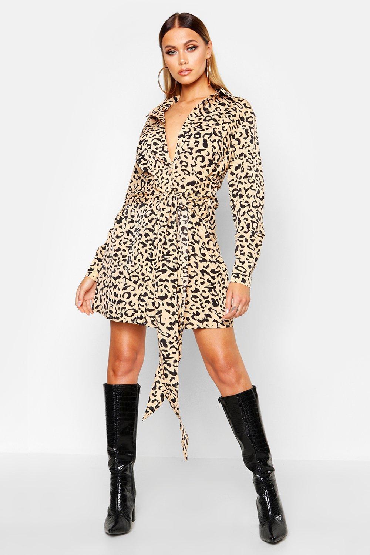 Womens Blusenkleid mit Schnürung - Karamell - 34, Karamell - Boohoo.com