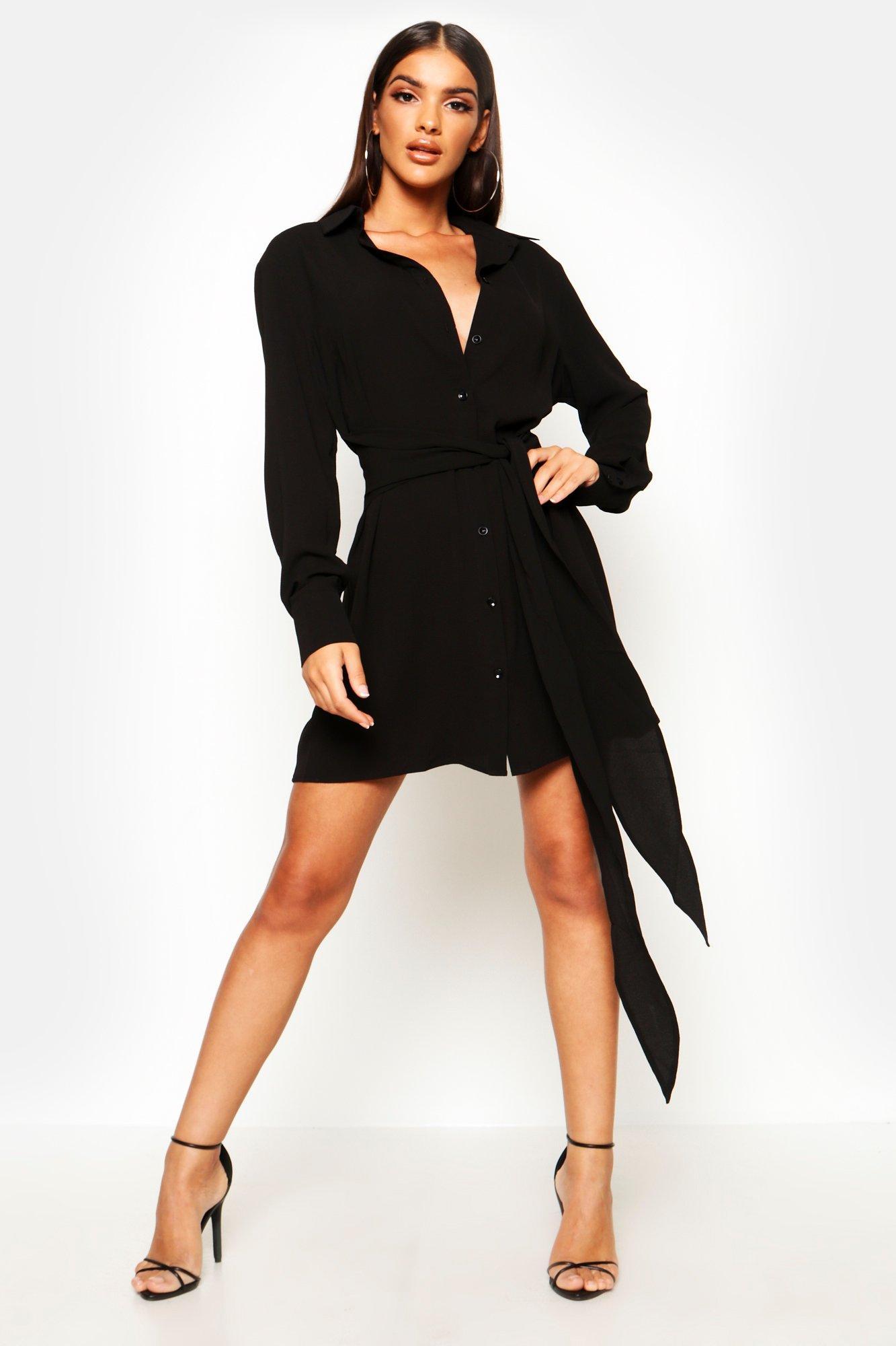 Womens Blusenkleid mit Schnürung - schwarz - 34, Schwarz - Boohoo.com