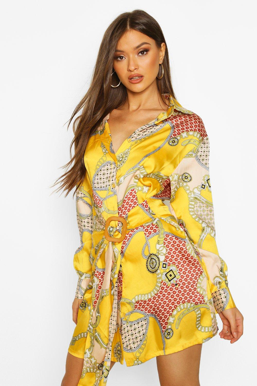Womens Blusenkleid aus Satin mit Barockmuster und Gürtel - senfgelb - 36, Senfgelb - Boohoo.com