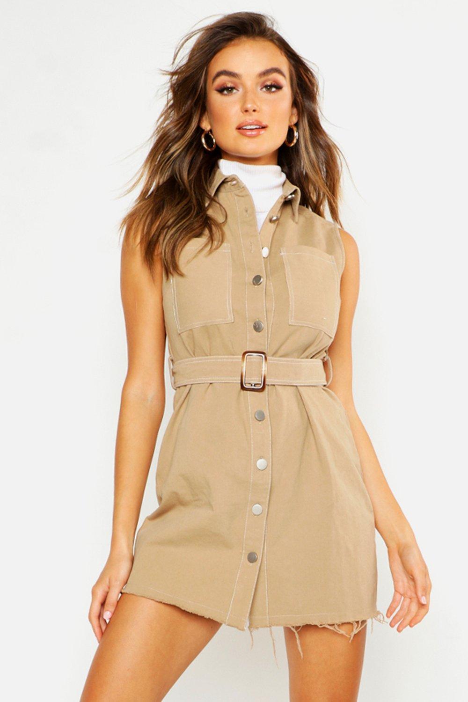 Womens Blusenkleid aus Baumwoll-Twill mit Kontrastnähten - Lohbraun - 36, Lohbraun - Boohoo.com