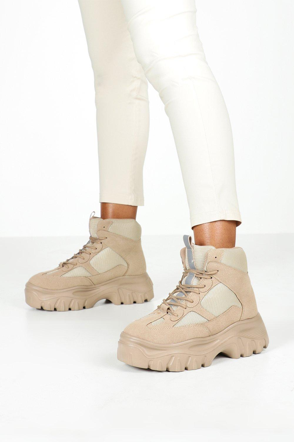 Festival Shoes Lace Up Chunky Platform Hiker Trainers