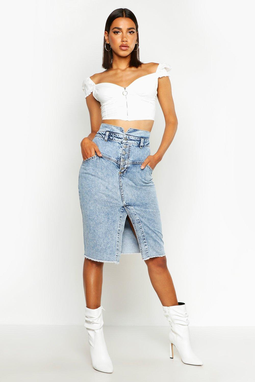 SALE Acid Wash Seam Detail Midi Skirt