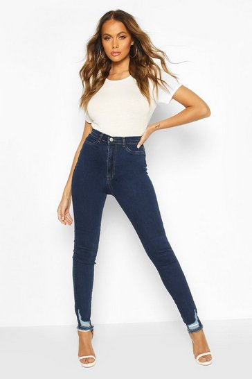 Dark blue Power Stretch Frayed Hem Skinny Jean