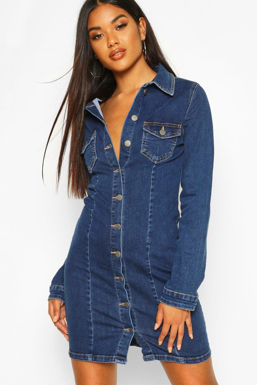 Womens Langärmeliges, figurbetontes Jeanskleid aus Powerstretch - Mittelblau - 32, Mittelblau - Boohoo.com