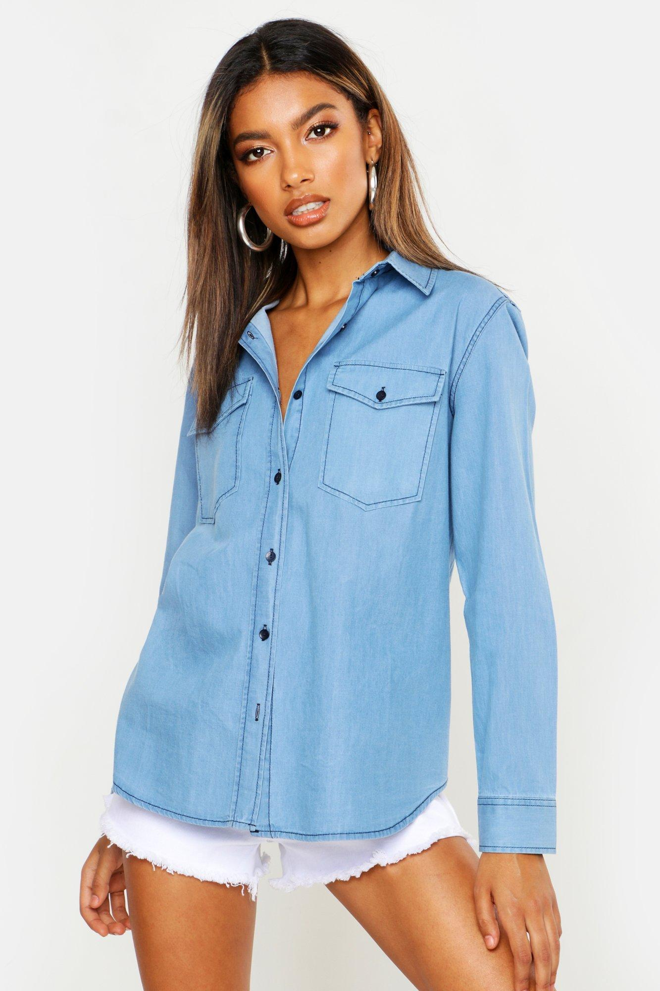 Womens Slim-Fit Jeanshemd - Mittelblau - 32, Mittelblau - Boohoo.com