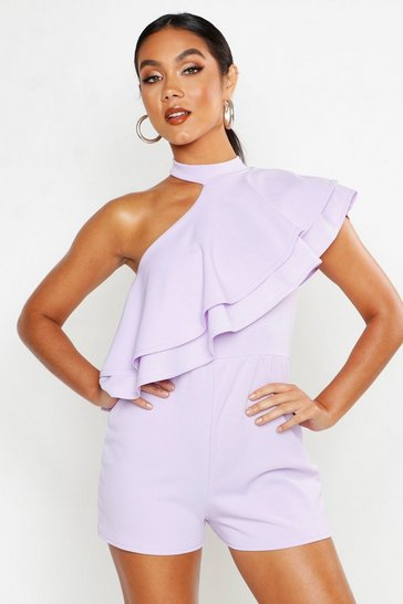 Lilac One Shoulder Ruffle Playsuit