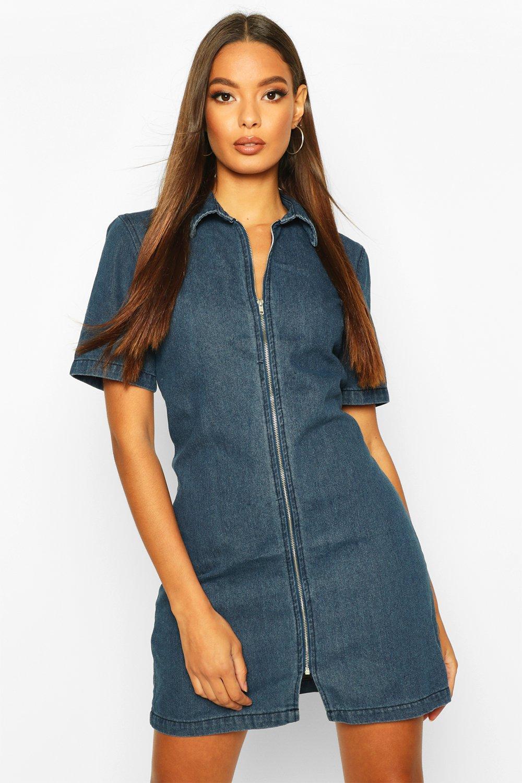 Womens Jeanskleid mit durchgehendem Reißverschluss - dunkelblau - 32, Dunkelblau - Boohoo.com