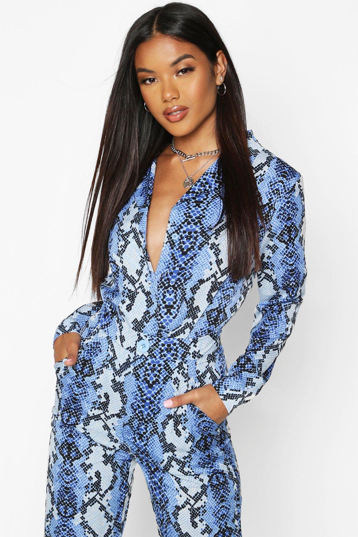 Womens T-Shirts Schlangen-bedruckt - Blau - 32, Blau - Boohoo.com