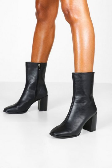 Black Block Heel Square Toe Shoe Boots