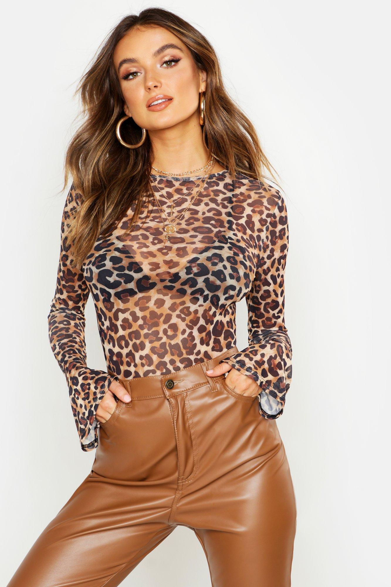 Womens Body aus Netzstoff mit ausgestellten Ärmeln in Leoparden-Print - 40, Leopard - Boohoo.com