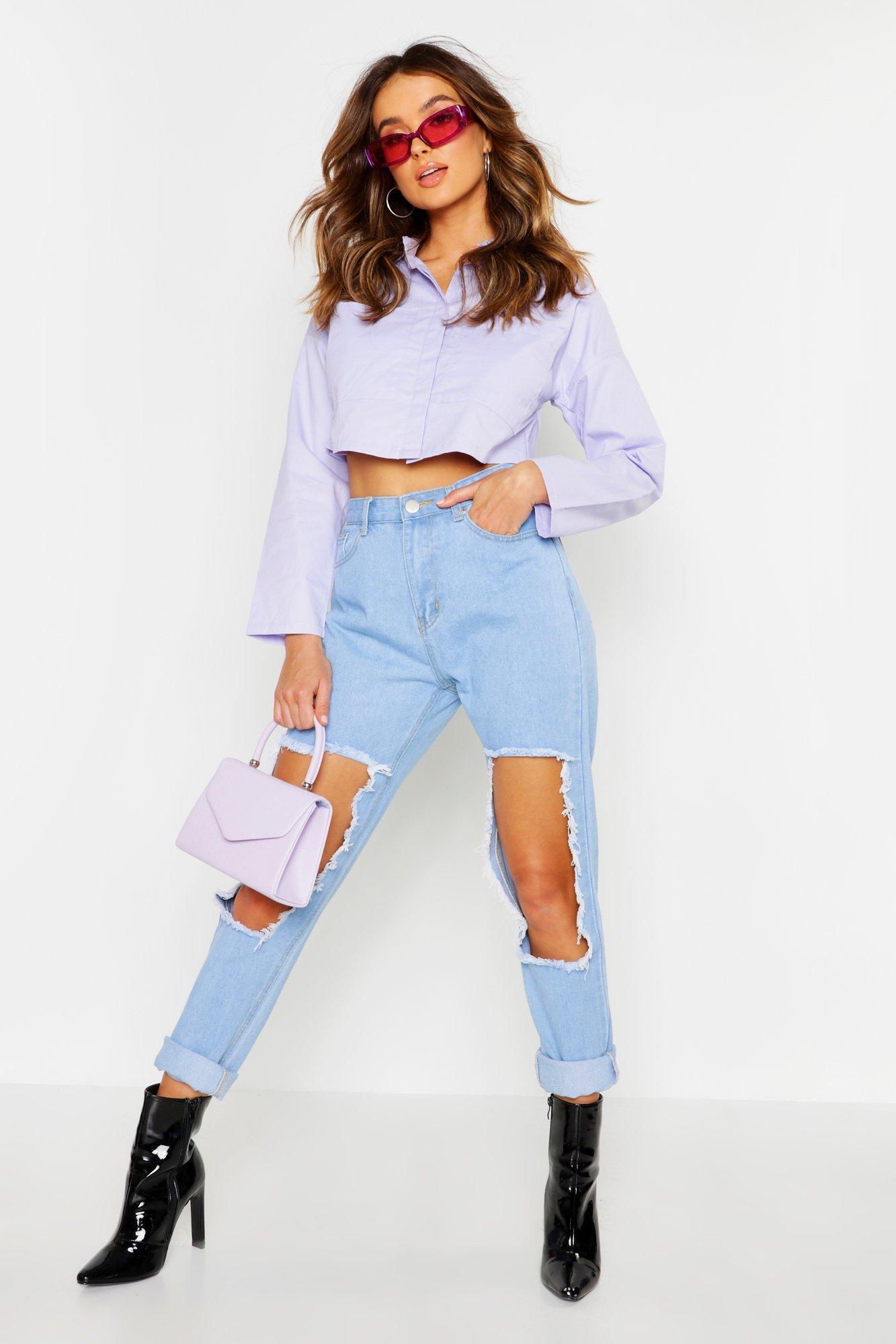 Womens Twillhemd mit Tasche und Kontrastnaht - Flieder - 36, Flieder - Boohoo.com