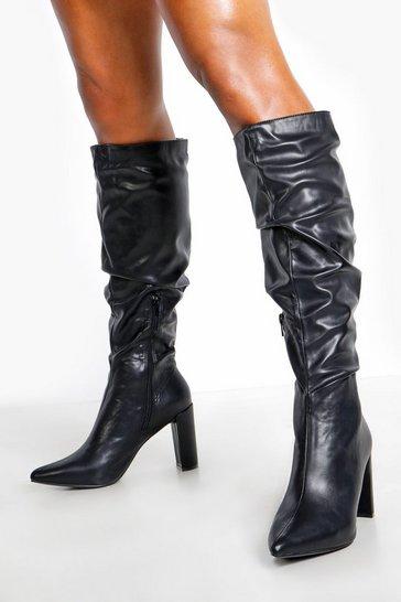 Black Block Heel Rouched Knee Boots