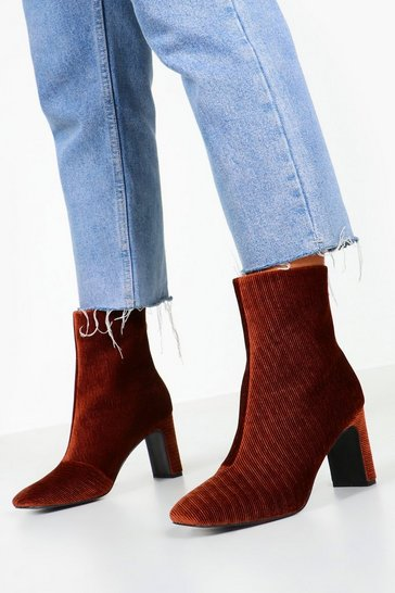 Brown Cord Low Heel Shoe Boots