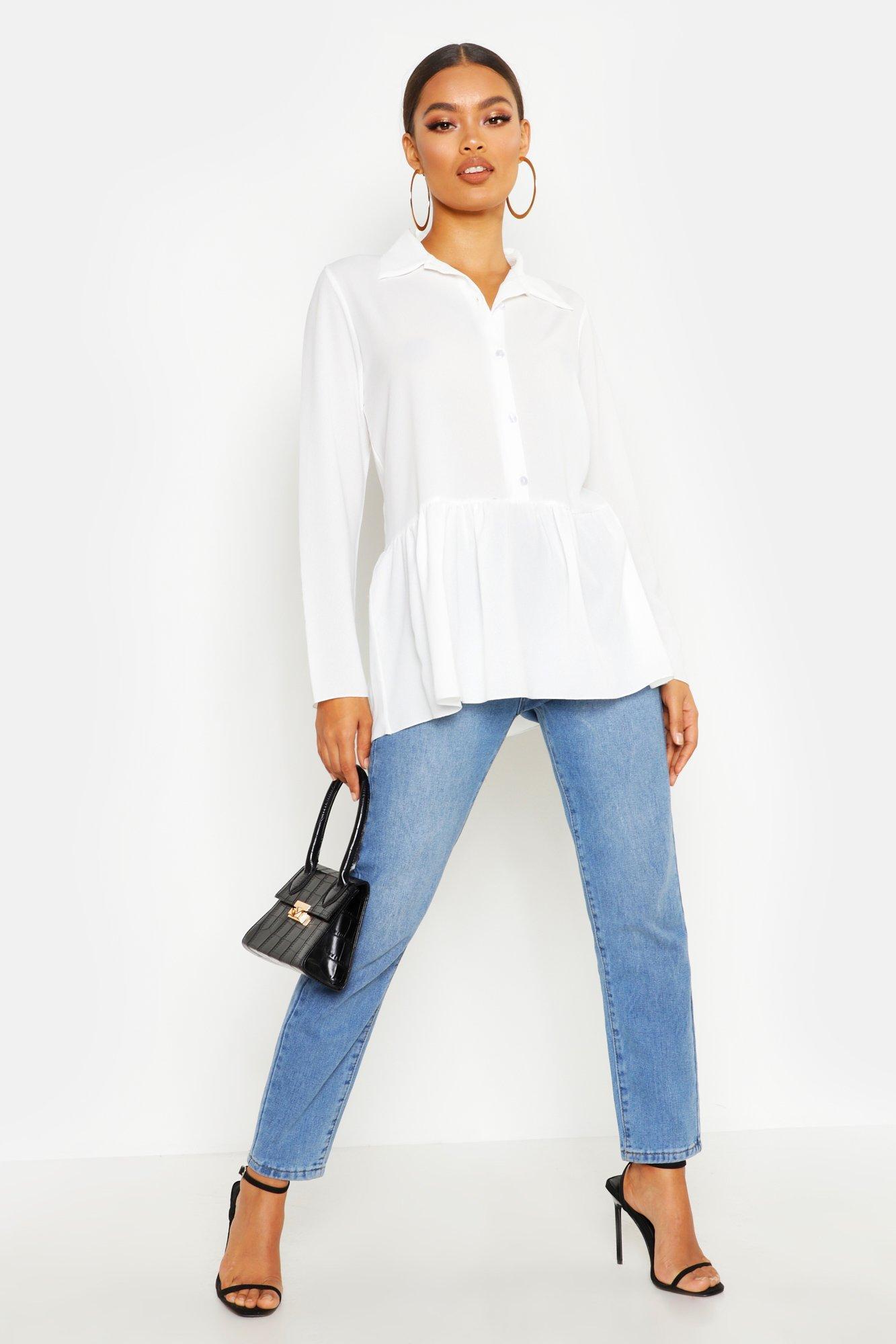Womens Hemd mit Schößchen - Weiß - 32, Weiß - Boohoo.com