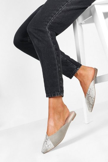 Grey Snake Pointed Flat Mules