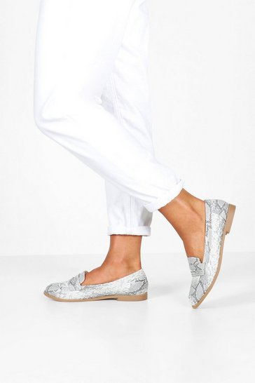 Natural Wide Fit Snake Flat Loafers