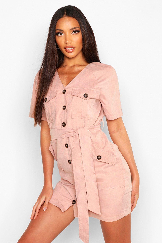 Womens Suedette Button Down Belted Utility Dress - Beige - 12, Beige